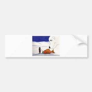 penguin and polar bear bumper sticker