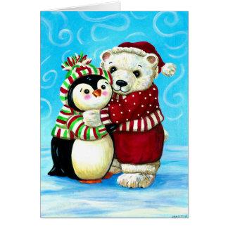 Penguin and polar bear Christmas Card