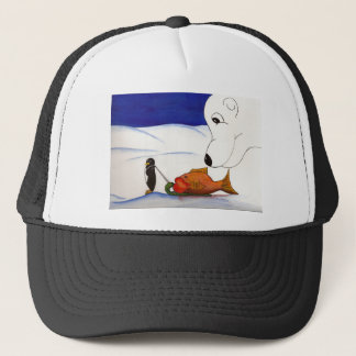 penguin and polar bear trucker hat