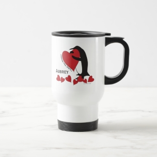 Penguin and Red Hearts Personalized