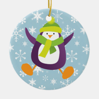 Penguin and Snowflakes Round Ornament