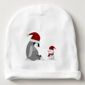 Penguin and snowman baby beanie
