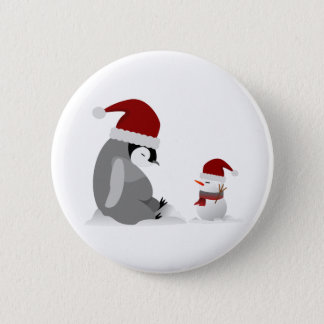 Penguin and snowman button