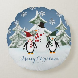 Penguin And Snowman Merry Christmas Pillow