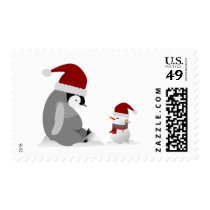 Penguin and snowman postage