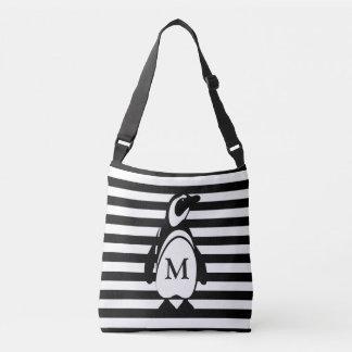 Penguin and Stripes Crossbody Bag