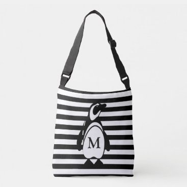 DippyDoodle Penguin and Stripes Crossbody Bag