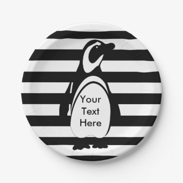 DippyDoodle Penguin and Stripes Paper Plate