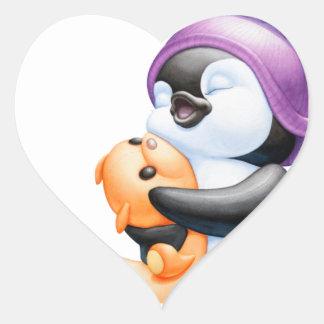 Penguin and Teddy Bear Heart Sticker