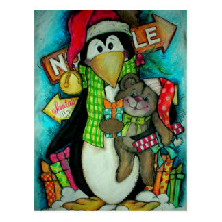 Penguin and Teddy Pal - Holiday Fun Postcard