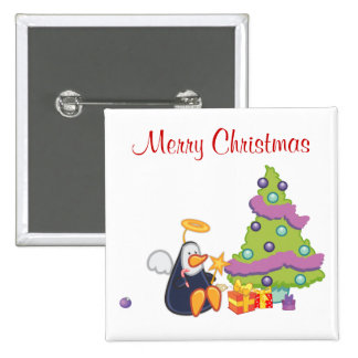 Penguin Angel Christmas Button
