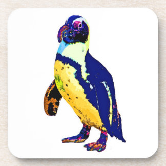 Penguin,Antartic, Artistic Colours, Yellow & Blue Beverage Coaster