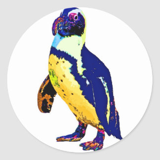 Penguin,Antartic, Artistic Colours, Yellow & Blue Stickers