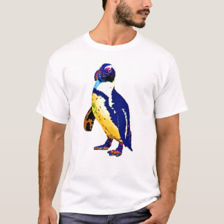 Penguin,Antartic, Artistic Colours, Yellow & Blue T-Shirt