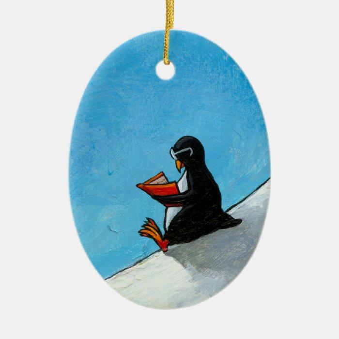 Penguin art fun cute bird in glasses reading book ceramic ornament