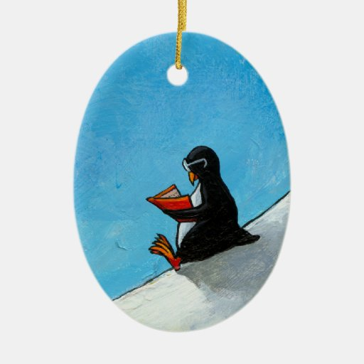 Penguin art fun cute bird in glasses reading book christmas tree ornament