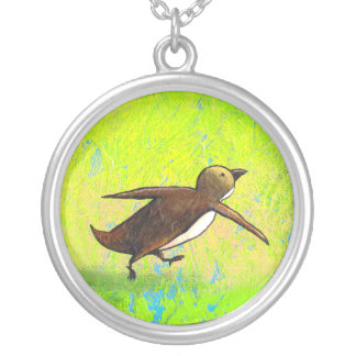 Penguin art hurried rushing Grace Under Pressure Silver Plated Necklace