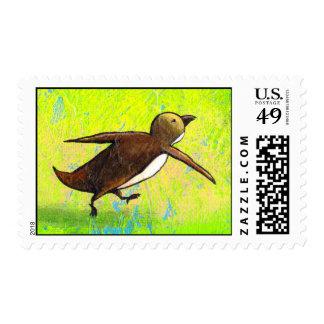 Penguin art hurried rushing Grace Under Pressure Stamp