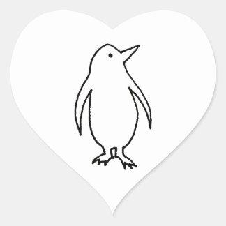 Penguin art original line drawing fresh and simple heart sticker