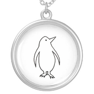 Penguin art original line drawing fresh and simple round pendant necklace