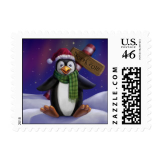 Penguin at the North Pole Custom Postage Stamp