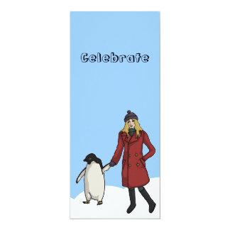 "Penguin Awareness Day, 4""x9.25"" invitation"