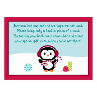 Penguin Baby Shower Book Request Cards