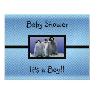 Penguin Baby Shower Boy Card