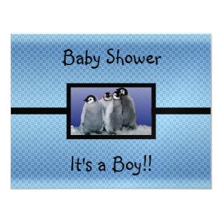 Penguin Baby Shower Boy Card