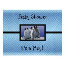 Penguin Baby Shower Boy Custom Invitations
