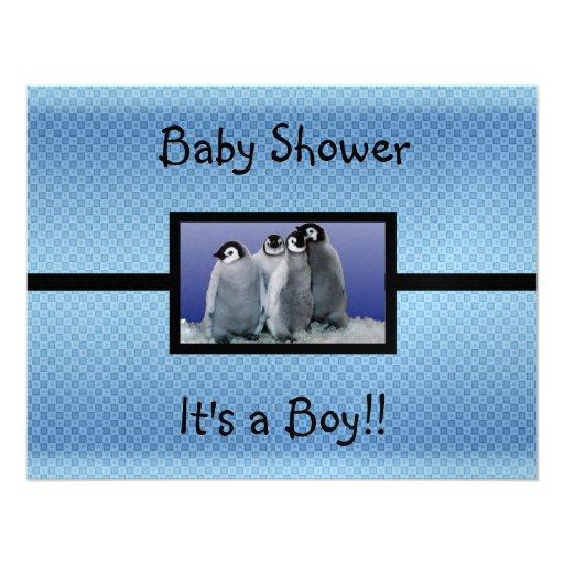 penguin baby shower boy paper invitation card zazzle