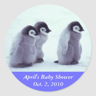 Penguin Baby Shower Classic Round Sticker