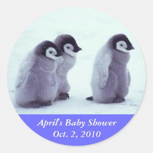 penguin baby shower classic round sticker zazzle