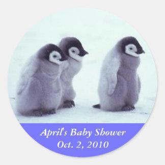 Penguin Baby Shower Classic Round Sticker