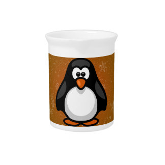 Penguin Baby with colored / graphic background Drink Pitcher