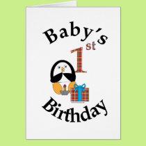 Penguin Baby's 1st Birthday Card