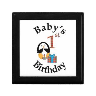 Penguin Baby's 1st Birthday Keepsake Box