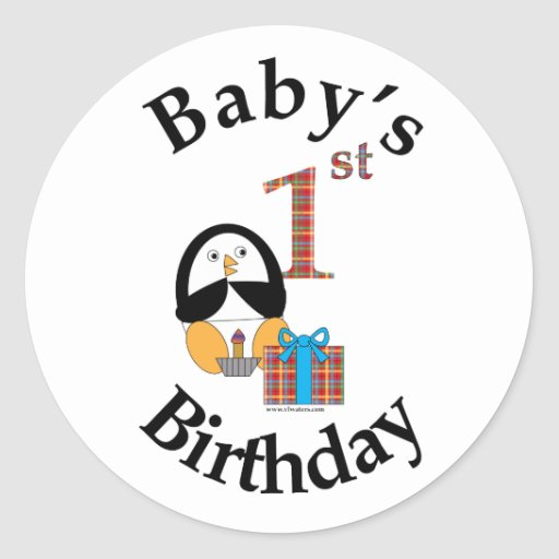 Penguin Baby's 1st Birthday sticker
