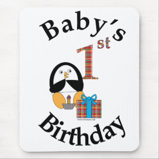 Penguin Baby's First Birthday Mousepad