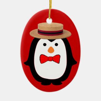Penguin Barbershopper Double-Sided Oval Ceramic Christmas Ornament