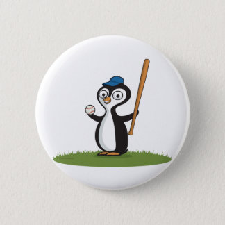 Penguin Baseball Pinback Button