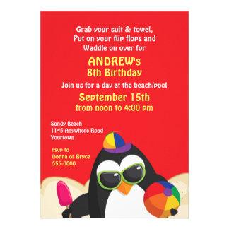 Penguin Beach Party Birthday Invitation