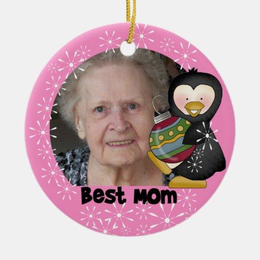 Penguin Best Mom Photo Keepsake Ornament