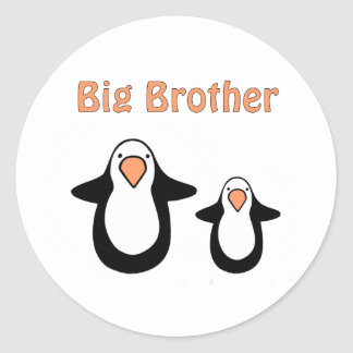penguin big brother classic round sticker