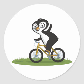 Penguin Biker Classic Round Sticker