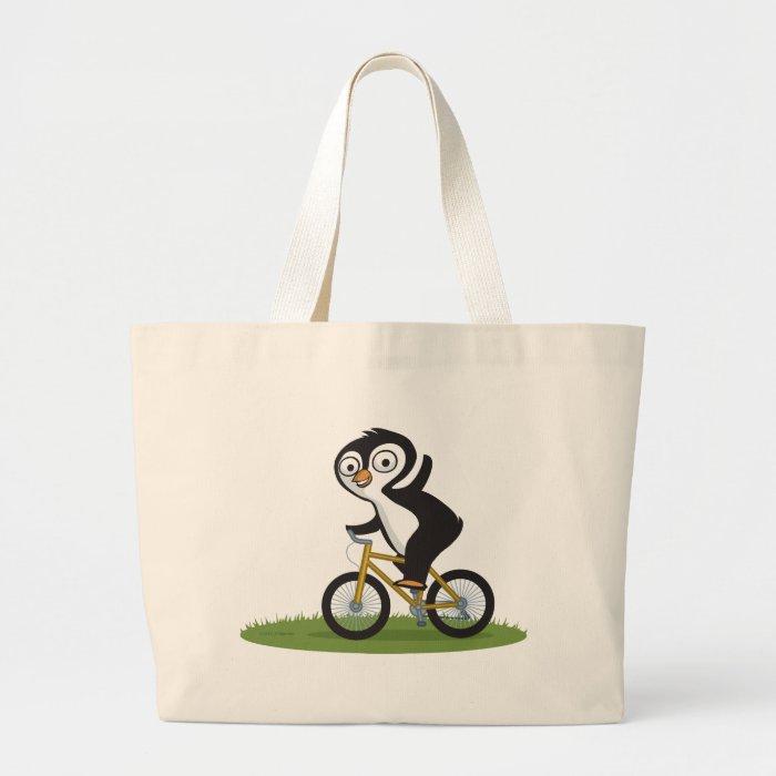 Penguin Biker Large Tote Bag