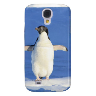 Penguin Bird Feathers Black White Personalize Name Galaxy S4 Cover