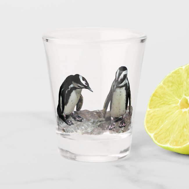 Penguin Birds Black and White Wildlife Shot Glass