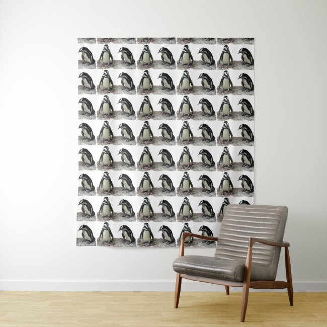 Penguin Birds Black White Pattern Wall Tapestry