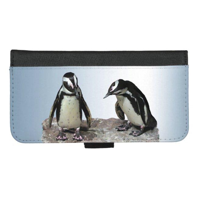 Penguin Birds Blue iPhone 8/7 Plus Wallet Case